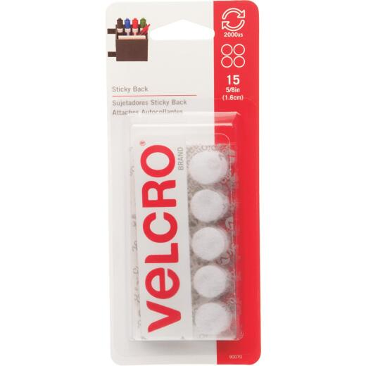 VELCRO Brand 5/8 In. White Hook & Loop Discs (15 Ct.)
