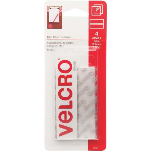 VELCRO Brand 3/4 In. x 3-1/2 In. Clear Sticky Back Hook & Loop Strips (4 Ct.)