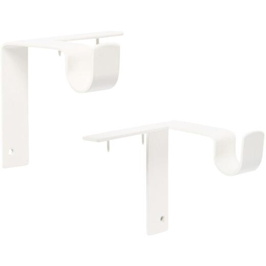 Kwik-Hang 5/8 In. x 2-3/4 In. Projection Antique White Curtain Rod Bracket (2-Pack)