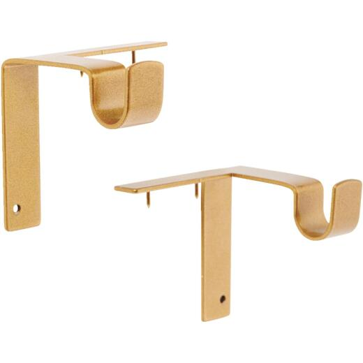 Kwik-Hang 5/8 In. x 2-3/4 In. Projection Gold Curtain Rod Bracket (2-Pack)
