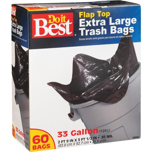 Do it Best 33 Gal. Extra Large Black Trash Bag (60-Count)