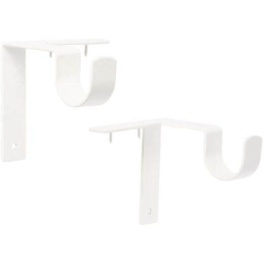 Kwik-Hang 1 In. x 3 In. Projection Antique White Curtain Rod Bracket (2-Pack)