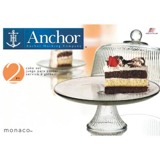 Anchor Hocking Monaco Dome Cake Serving Tray Set