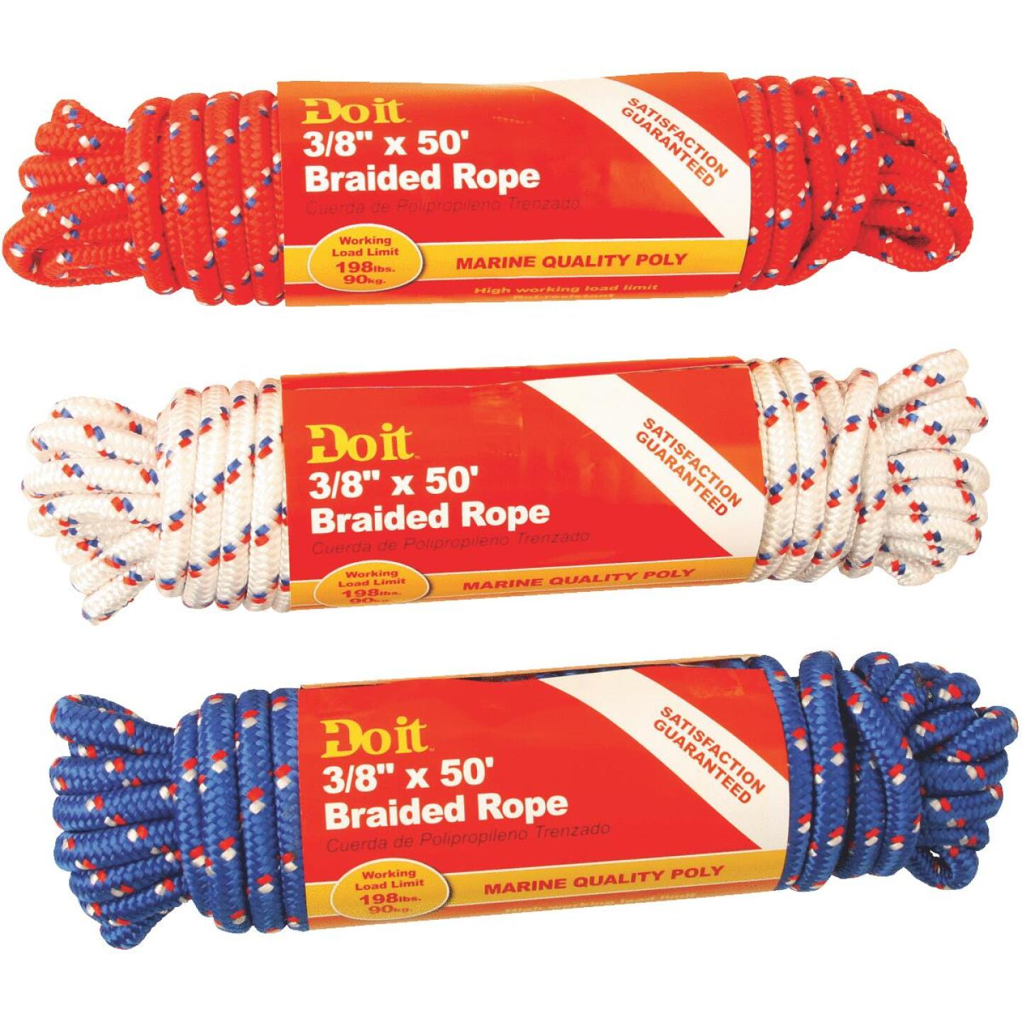 Do it 3/8 In. x 50 Ft. Assorted Colors Diamond Braided Polypropylene Packaged Rope Image 1