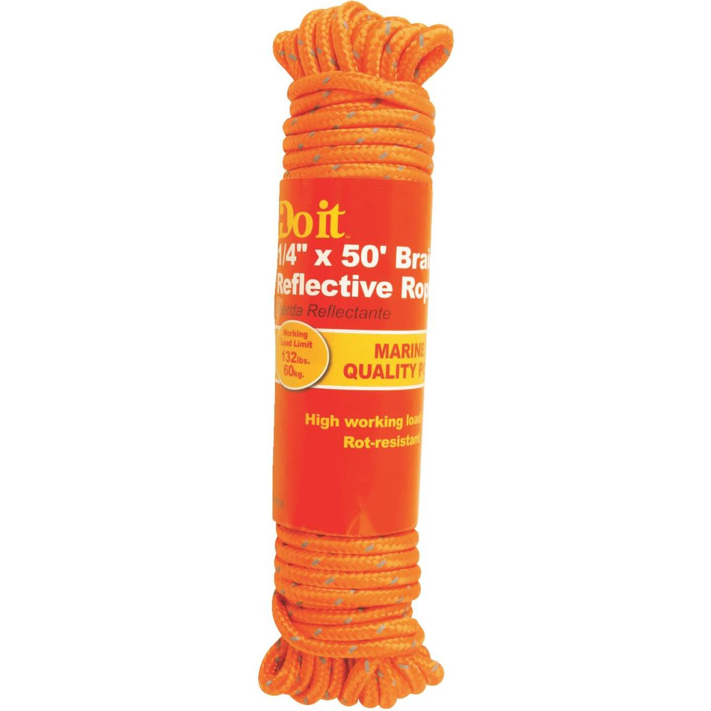Do it 1/4 In. x 50 Ft. Orange Braided Reflective Polypropylene Packaged Rope Image 1