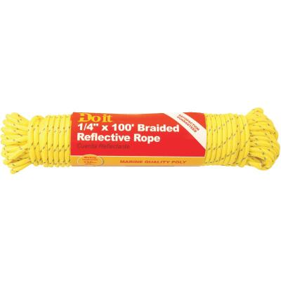 Do it 1/4 In. x 100 Ft. Yellow Braided Reflective Polypropylene Packaged Rope