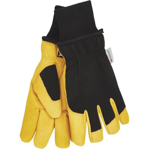 Wells Lamont HydraHyde Men's 2XL Grain Goatskin Black & Tan Insulated Work Glove