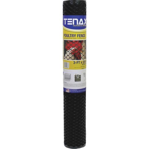 Tenax 3/4 In. x 3 Ft. H. x 25 Ft. L. Hexagonal Plastic Poultry Netting Fence, Black
