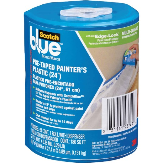 3M Scotch Pre-Taped Painter's Plastic 24 In. x 90 Ft. 0.35 mil Drop Cloth