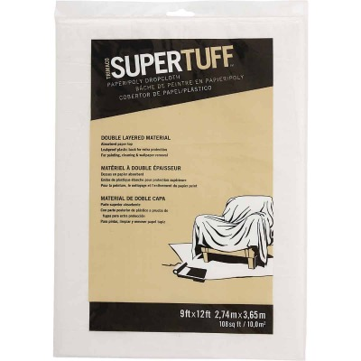 Trimaco SuperTuff Plastic 9 Ft. x 12 Ft. 2 Ply Drop Cloth