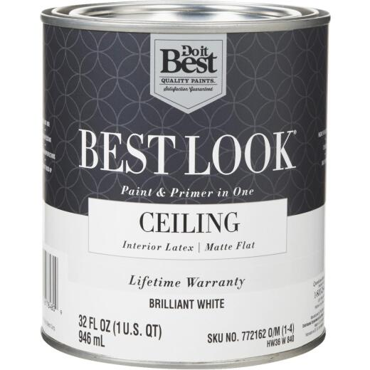 Best Look Latex Paint & Primer In One Matte Flat Ceiling Paint, Brilliant White, 1 Qt.