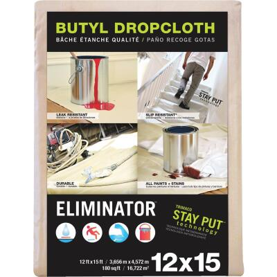 Trimaco Eliminator Butyl-Back Canvas 12 Ft. x 15 Ft. Heavy-Duty Drop Cloth