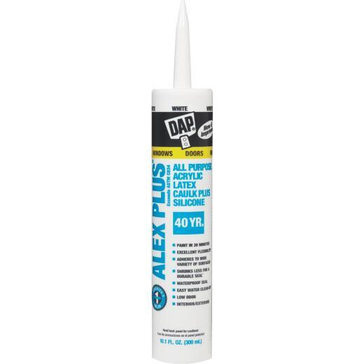 DAP ALEX PLUS All Purpose 10.1 Oz. White Siliconized Acrylic Latex Caulk