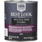 Best Look Oil-Based Alkyd Gloss Exterior House & Trim Enamel Paint, White, 1 Qt. Image 1