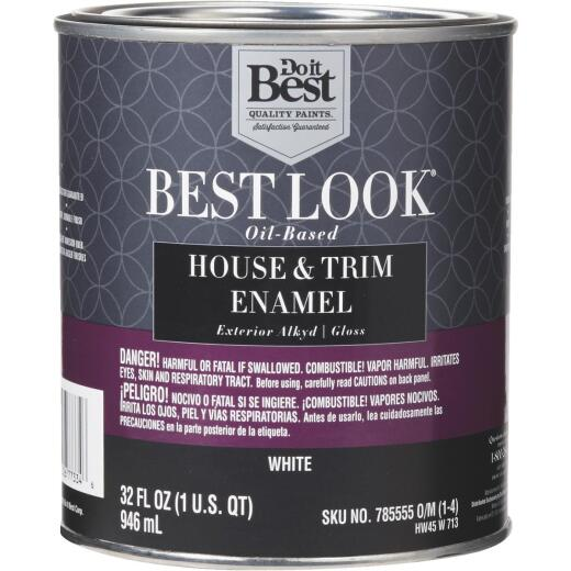 Best Look Oil-Based Alkyd Gloss Exterior House & Trim Enamel Paint, White, 1 Qt.
