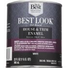 Best Look Oil-Based Alkyd Gloss Exterior House & Trim Enamel Paint, White, 1 Qt. Image 2