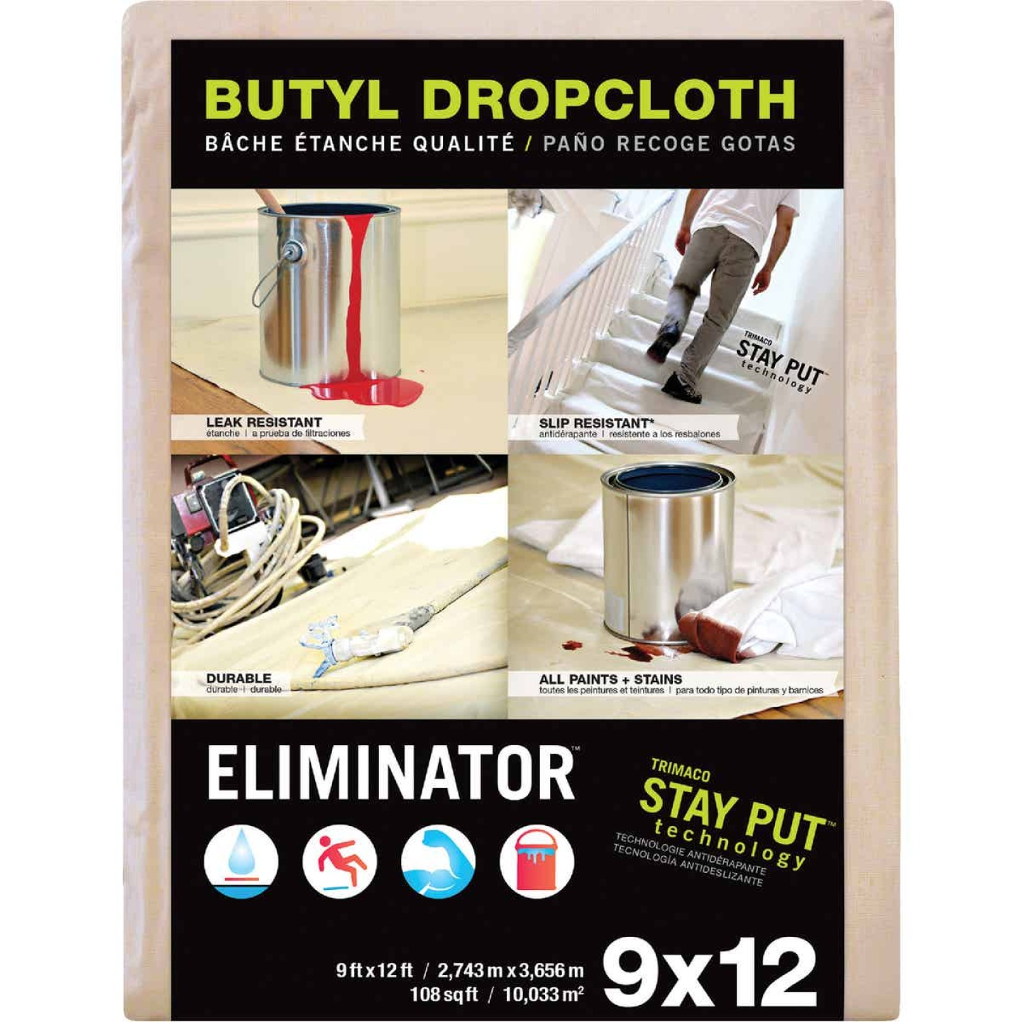 Trimaco Eliminator Butyl-Back Canvas 9 Ft. x 12 Ft. Heavy-Duty Drop Cloth Image 1