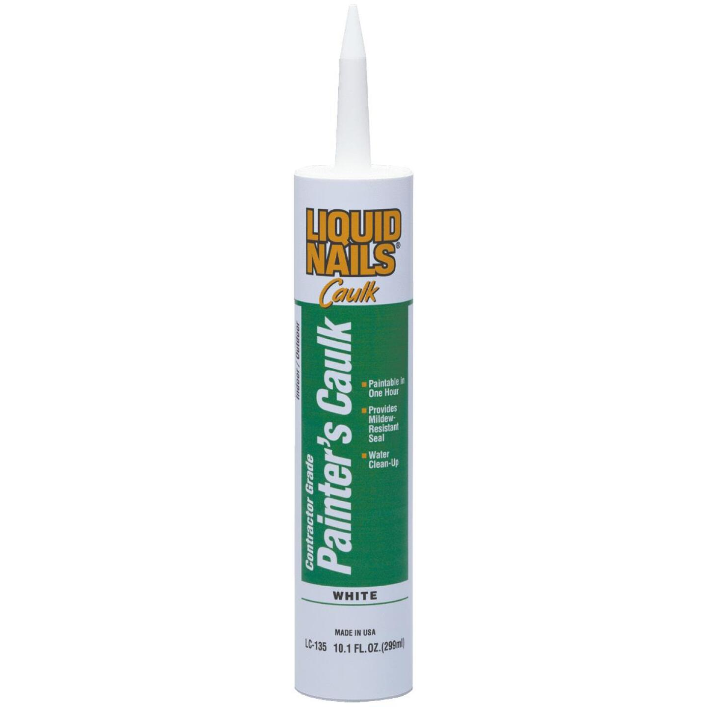 LIQUID NAILS 10.1 Oz, White Contractor Grade Painter's Acrylic Latex Caulk Image 1