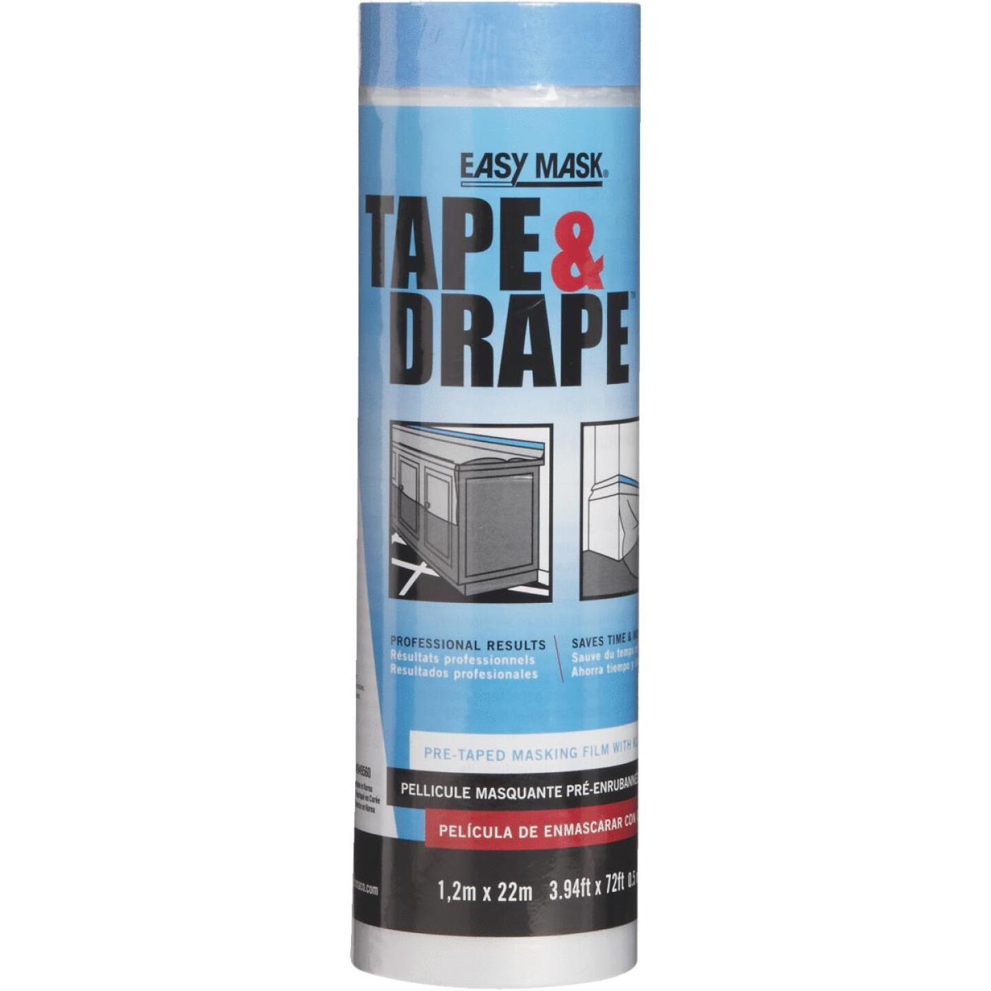 Trimaco Tape & Drape Pre-Taped Plastic 4 Ft. x 75 Ft. 1/2 mil Drop Cloth Image 1