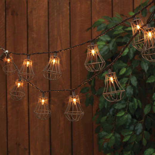 Everlasting Glow 8.5 Ft. 10-Light White Rustic Cage String Lights