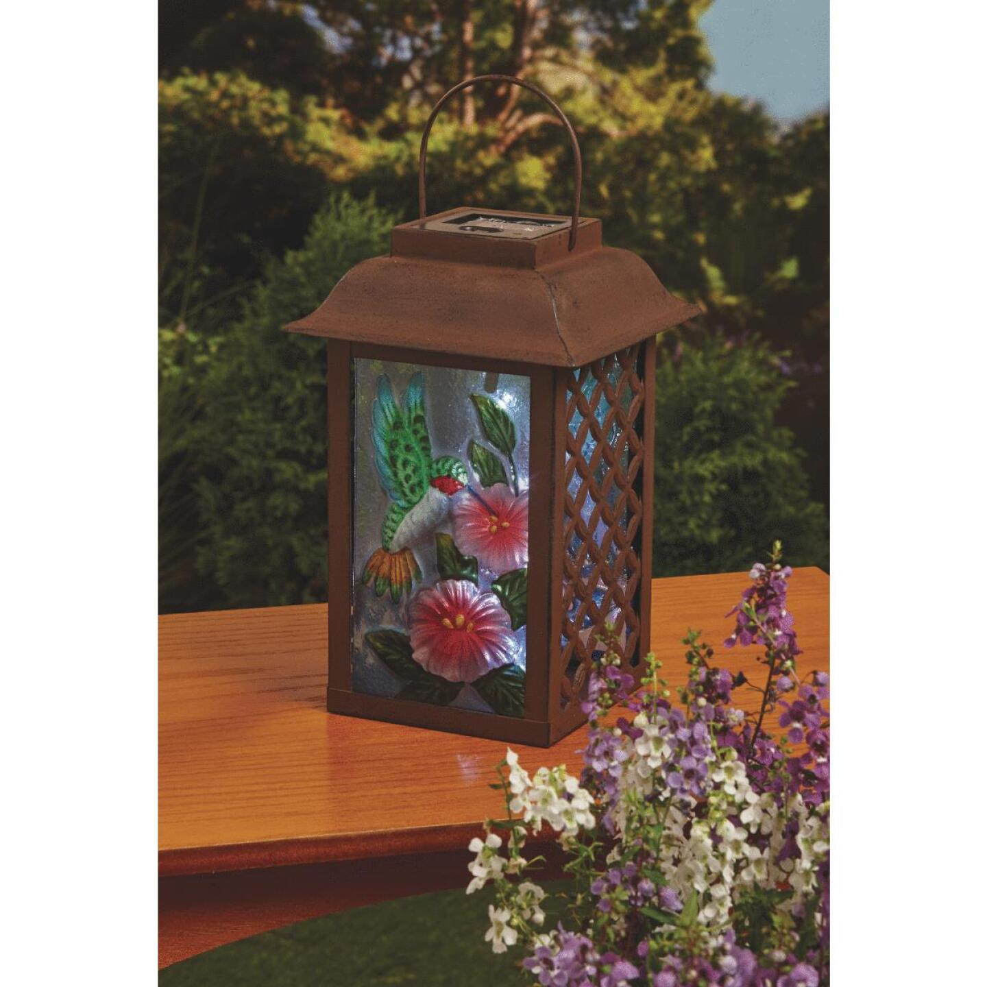 Outdoor Expressions 6 In. W. x 9.5 In. H. x 6 In. D. Solar Patio Latern Image 4