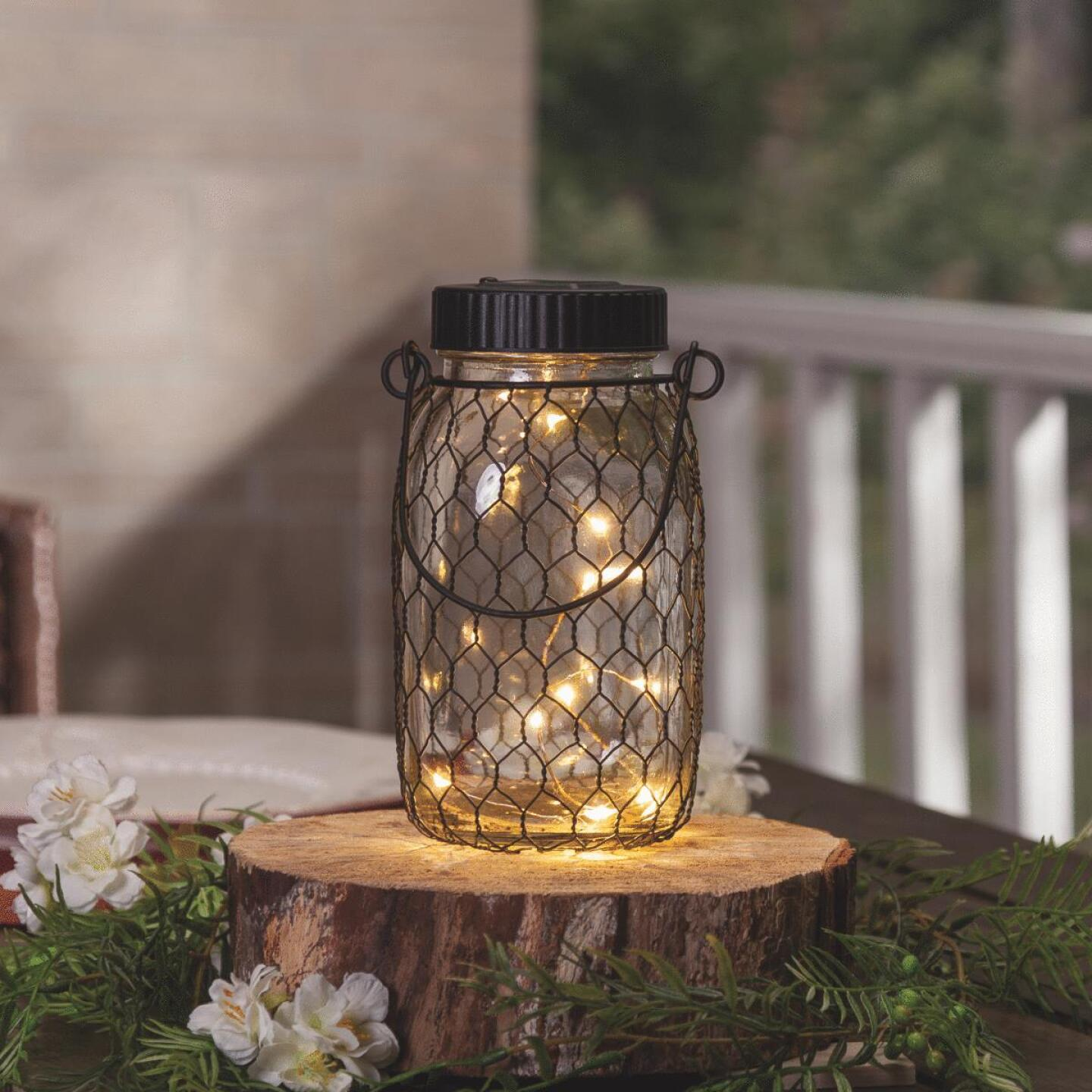 Gerson Everlasting Glow 6.9 In. H. x 2.75 In. Dia. Black Top Mason Jar LED Solar Lantern Image 2