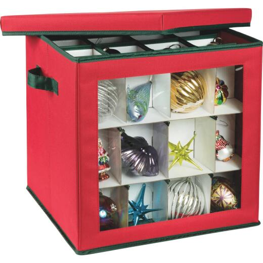 Honey Can Do 15 In. Square Polyester Ornament Storage Container