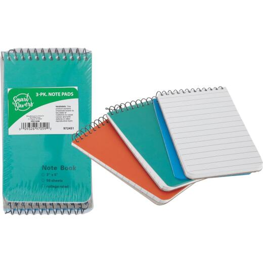 Smart Savers 3 In. x 5 In. White 50-Sheet Top Spiral Bound Note Pad (3-Pack)