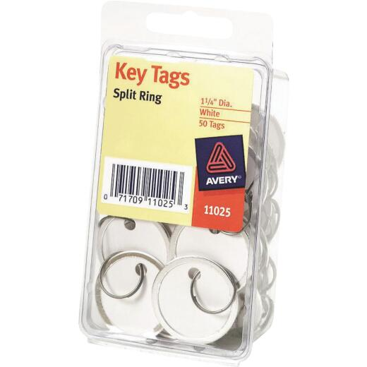 Avery Round 1-1/4 In. Split Key Ring Card Stock Tag with Metal Rim, (50-Pack)